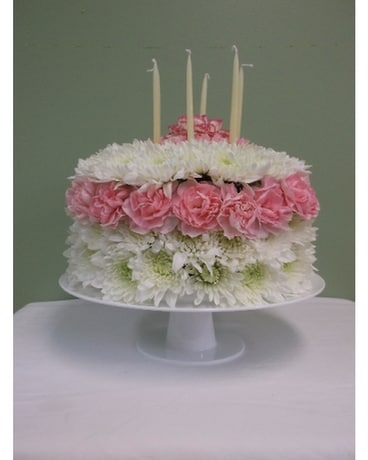 Birthday Pedestal Cake Flower Arrangement