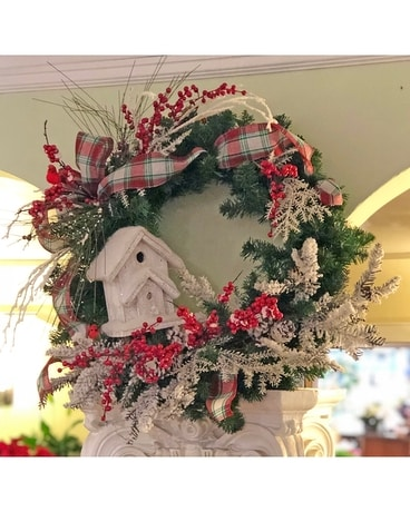 Snowy birdhouse wreath Specialty Arrangement
