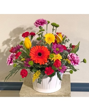 Fresh Spring Basket Flower Arrangement