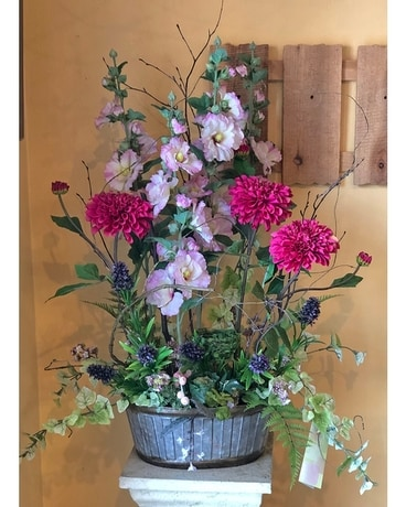 Blissful Garden Flower Basket Specialty Arrangement