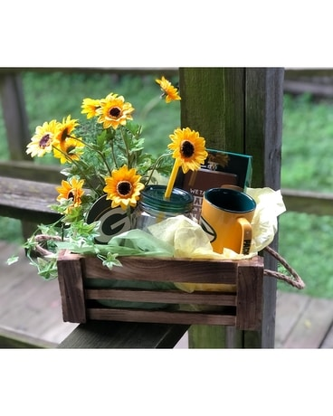 Packer Gift Basket Flower Arrangement