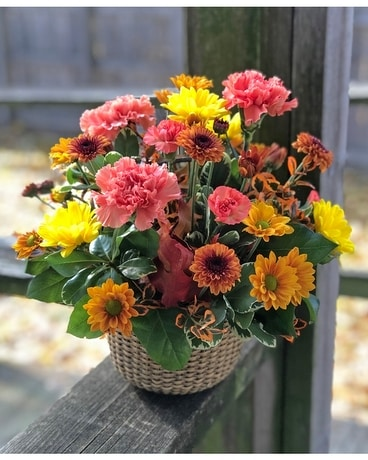 Happy Fall Basket Flower Arrangement