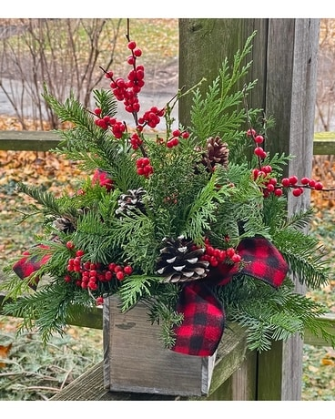 Cedar and Pine Flower Arrangement