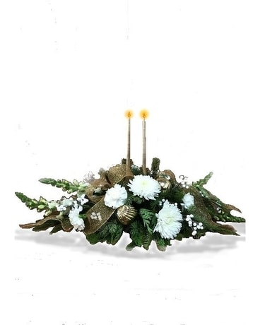 GLITTERING HOLIDAY CENTERPIECE Flower Arrangement