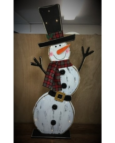 WOODEN LIGHT UP SNOW MAN Gifts