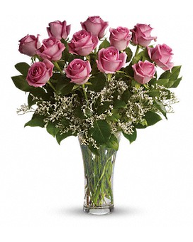 Make Me Blush- Dozen Long Stemmed Pink Roses Flower Arrangement