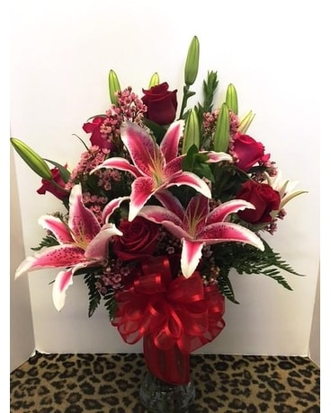 Lilies and Roses Flower Arrangement
