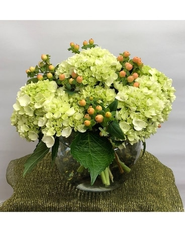 Berries and Hydrangea Bowl Flower Arrangement