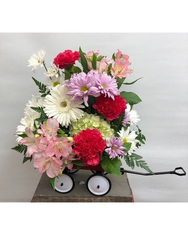Baby Girl Wagon Flower Arrangement