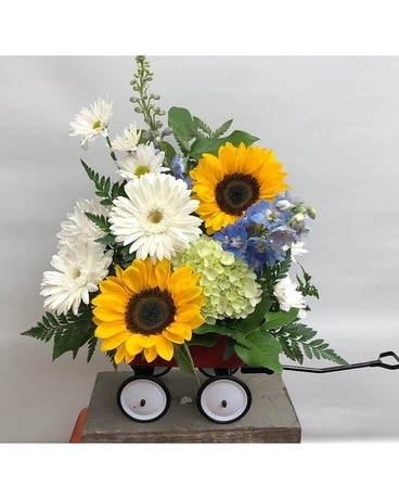 Baby Boy Wagon Flower Arrangement