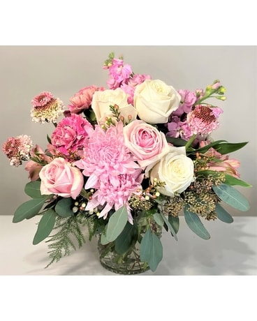 Blushing Hearts Flower Arrangement