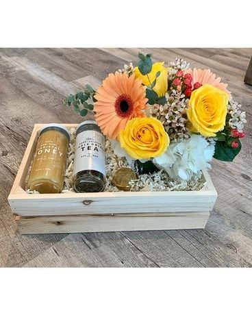 Honey and Tea Get Well Gift Crate Gift Basket