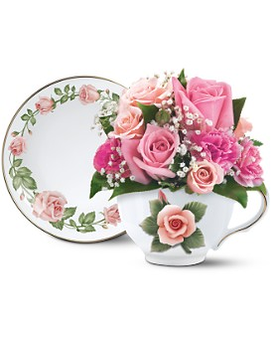 Teleflora's Capodimonte Teacup Bouquet Flower Arrangement