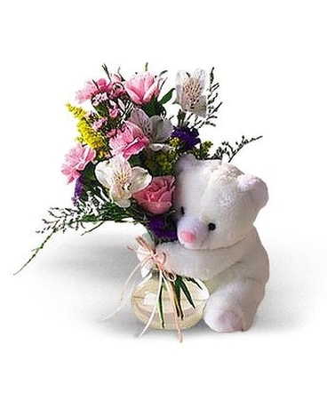Teleflora's Bear Hug Bear with Roses Flower Arrangement