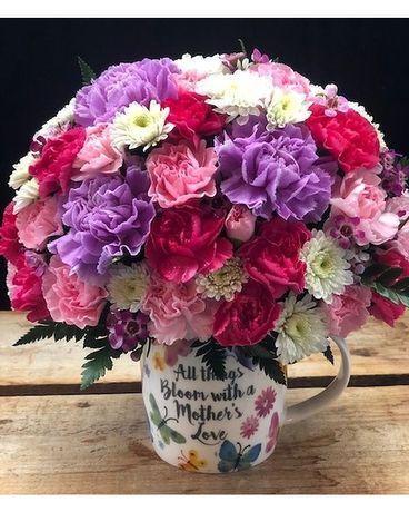 Mother's Day Coffee Cup Arrangement Flower Arrangement