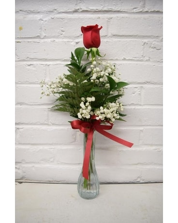 Single Red Rose Bud Vase