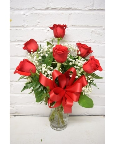 Half Dozen Premium Red Roses Flower Arrangement