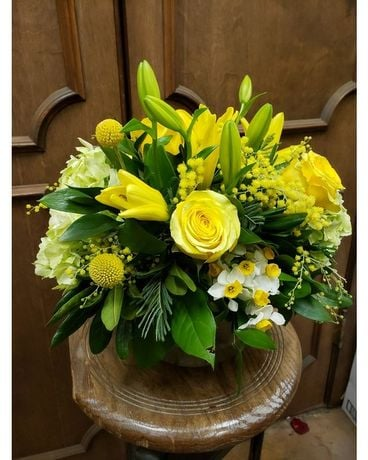 Sunshine in a Bubble Bowl Flower Arrangement