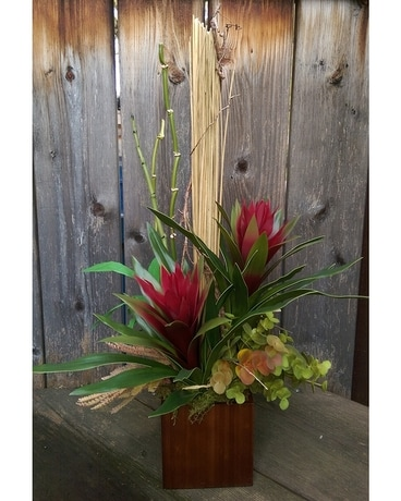 Silk Bromeliad Flower Arrangement