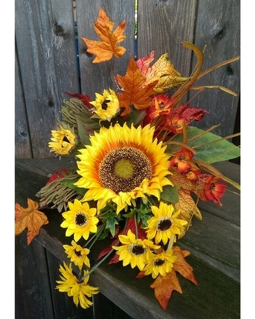 Small Sunflower Cornucopia Flower Arrangement