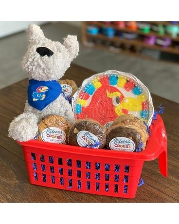KU Dog Cookie Basket Gift Basket