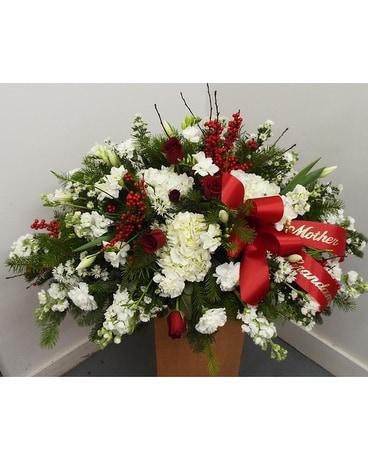 Red berries white winter casket in lawrence ks owens flower shop red berries white winter casket funeral casket spray flowers mightylinksfo