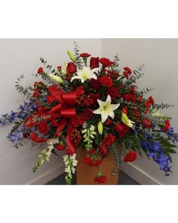 Military Honors Casket Funeral Casket Spray Flowers