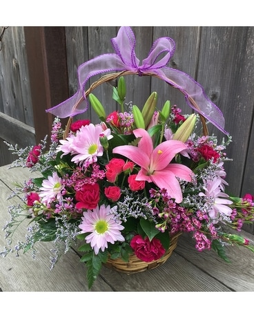 Mom's Garden Basket Flower Arrangement