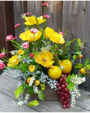 Poppies & Lemons Flower Arrangement