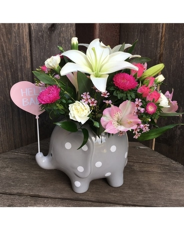 Hello Sweet Baby- Pink Flower Arrangement