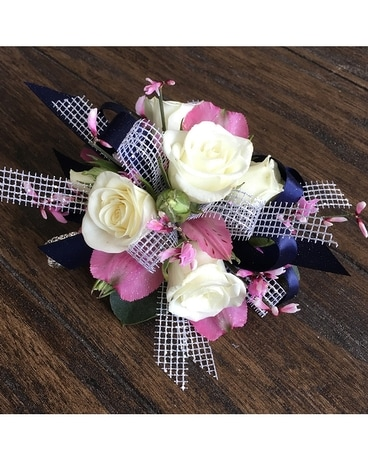 White,pink, navy cors017 Corsage