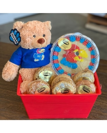 KU T-Shirt Bear Cookie Basket Gift Basket