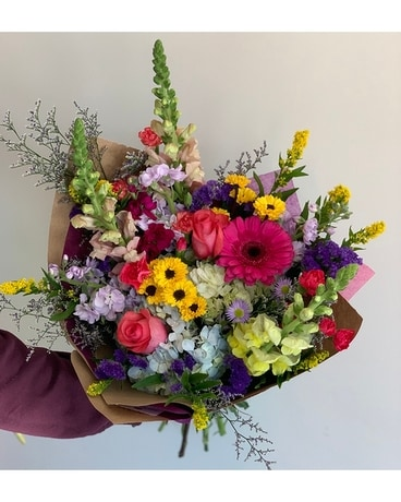 Hand Tied Wrap of Bright Blooms Bouquet