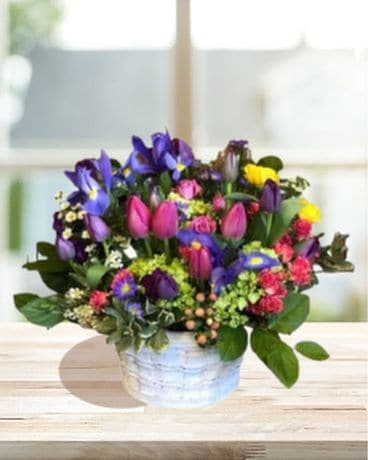 Basket of Spring Flowers Flower Arrangement