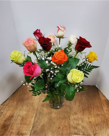 Dozen Multicolored Roses Flower Arrangement