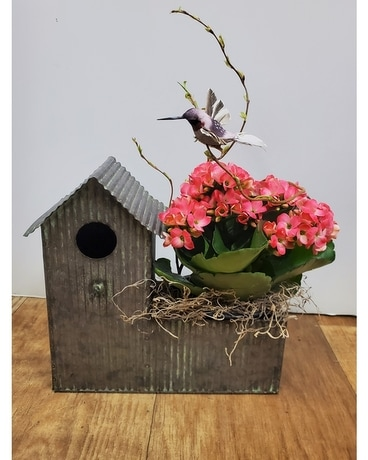 Blooming Birdhouse Flower Arrangement