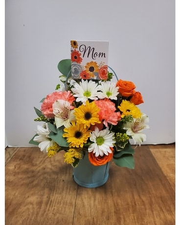 Blue Sky Basket Flower Arrangement