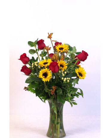 Sunflower Rose Vase Flower Arrangement