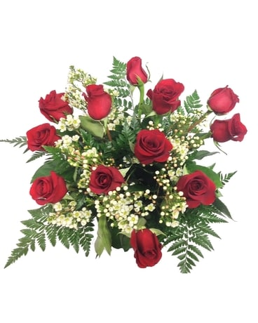 Red Rose with Wax Flower Bouquet