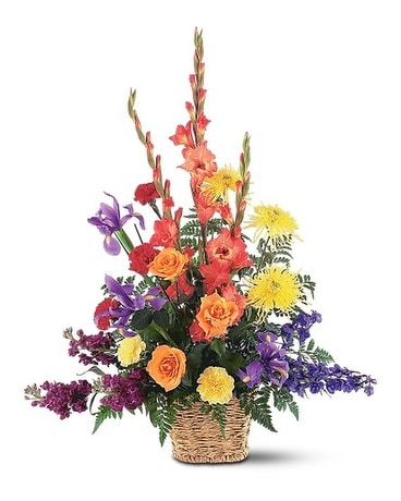 Rainbow Basket Flower Arrangement