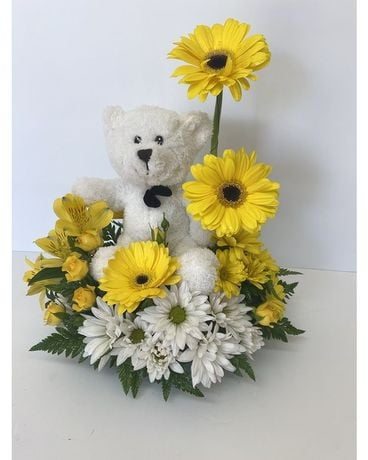 Zoe's Teddy Bear by RFS Flower Arrangement