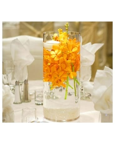 Orange Orchid Centerpiece