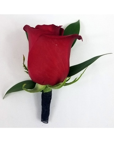 Red Rose with Greens Boutonniere Flower Arrangement