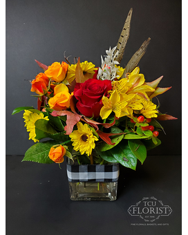Buffalo Plaid Bouquet Flower Arrangement