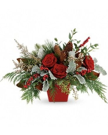 Winter Blooms Centerpiece Flower Arrangement