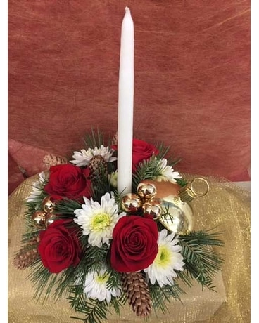 Jingle Bell Holiday Ornament Flower Arrangement