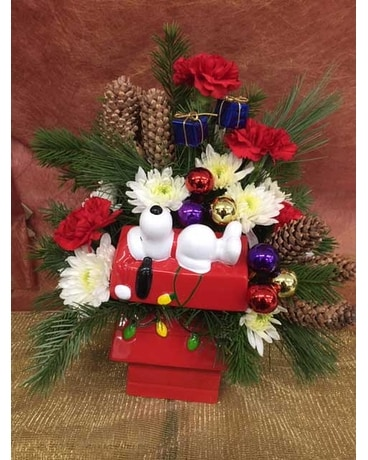 Snoopy Cookie Jar Flower Arrangement