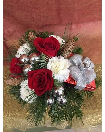Christmas Present Box Centerpiece Flower Arrangement