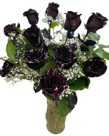 Long Stem Black +Pink Roses