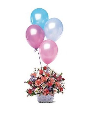 Birthday Balloon Basket Flower Arrangement
